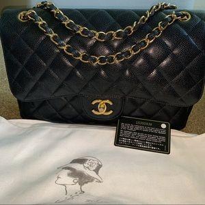 Chanel Classic Jumbo Caviar Double Flap Bag